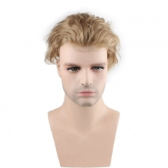 Men's Wig Human Hair Hairpiece Toupee Super Thin Skin Hair Replacement (#21 Ash Blonde)