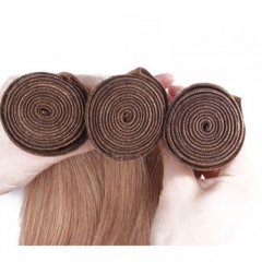 Color #27 Honey Brown Straight Brazilian Remy Human Hair Weave 3 Buddles