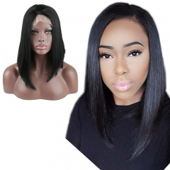Heat Resistant Synthetic Short Straight Hair Natural Black Lace Front Bob Wigs for Women Middle Parting