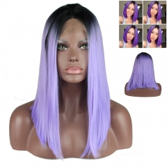 Fashion Ombre Short Bob Synthetic Lace Front Wigs Natural Straight Heat Resistant For Women 1b t Purple Color