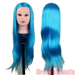 Cosmetology Styling Head with 28inch Synthetic Fibre Salon Training Head Sky Blue Color
