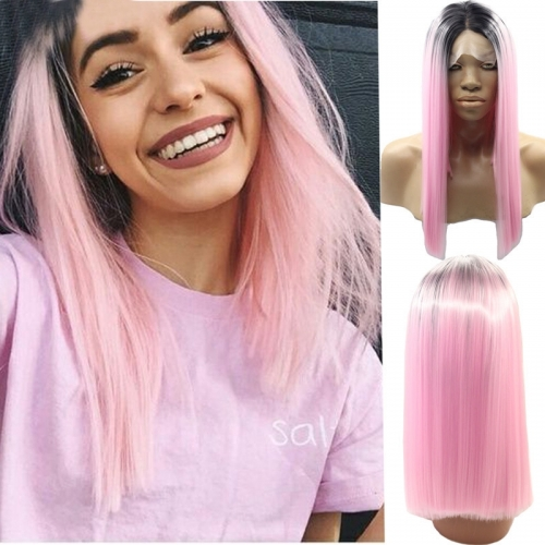 Black Root Ombre Pink Lace Front Wig Free Part Synthetic Slik Short BoB Lace Front Wig For Women
