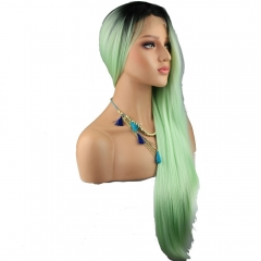 7A Grade Long Straight 1BT Light Green Color Lace Front High Tempurate Synthetic Fiber Hair Wig for  Women