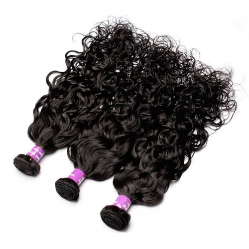 3 Bundles Indian Remy Human Hair Water Wet Wave Hair Weave Natural Color