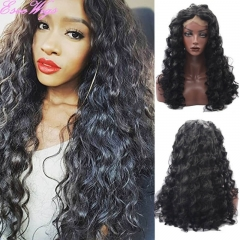 Eseewigs Natural Black Lace Front Wig Free Part Synthetic Long Loose Curly Lace Front Wig For Women Heat Resistant Fiber Hair 16~24inch