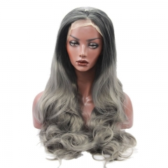 Eseewigs Black Root Ombre Dark Grey Lace Front Wig Free Part Synthetic Long Wavy Lace Front Wig For Women Heat Resistant Fiber Hair 16~24inch