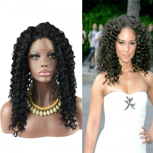 High Quality Synthetic Lace Front Wigs Deep Curly Natural Black Color for Black Woman
