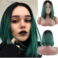 Eseewigs Black Root Ombre Green Lace Front Wig Free Part Synthetic Short Bob Lace Front Wig For Women Heat Resistant Fiber Hair 10~14inch