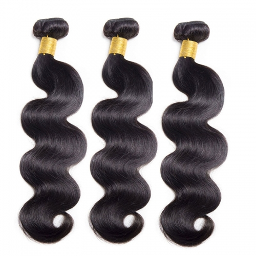 Natural Color Body Wave Indian Remy Human Hair Extensions Weave 3 Bundles