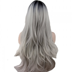 Synthetic Long Gray Wigs for Women Cosplay 1B Ombre Silver Grey Lace Front Wigs Middle Part 18inch