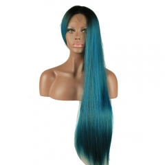 Cheap Long Natural Straight Synthetic Lace Front Wigs 1bt Deep Blue Color