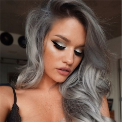 Good Quality Short Wave Black Root Ombre Gray 1B T Gray Cheap Lace Front Synthetic Hair Wig for Women
