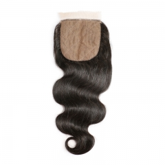 7A Cheap Silk Base Closure Brazilian Hair 4X4 Body Wave Hidden Knots Middle Free 3 part Human Hair Silk top Closure