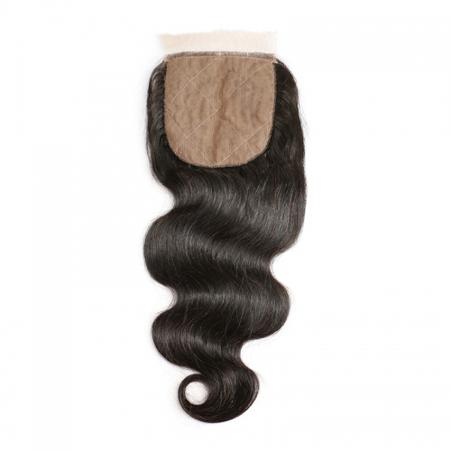 Cheap Silk Base Closure Brazilian Hair 4X4 Body Wave Hidden Knots Middle Free 3 part Human Hair Silk top Closure