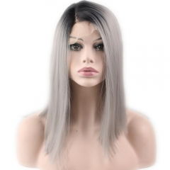 Cheap Heat Resistant Synthetic Short Straight Hair Black Ombre 1B T Gray  Lace Front Bob Wigs