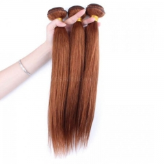 Color #30 Medium Brown Brazilian Remy Hair Straight Hair Weave 3 Buddles