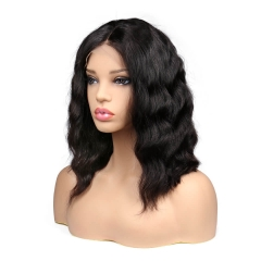 Short Hair Bob Lace Front Wigs African American Virgin Hair Wigs Natural Black Color