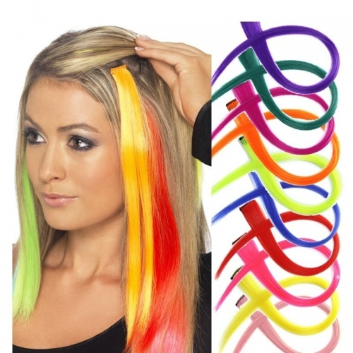Long Straight Hair Extension Synthetic Clip In Hair Extensions Cosplay Party Highlights Hair Pieces 23 Colors Available