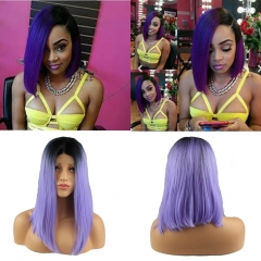 Black Ombre 1B T Purple Heat Resistant Synthetic Short Straight Hair Lace Front Bob Wigs