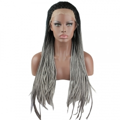 8A Synthetic Fiber Hair Cheap Braided Lace Front Wigs 1BT Gray Color for Woman