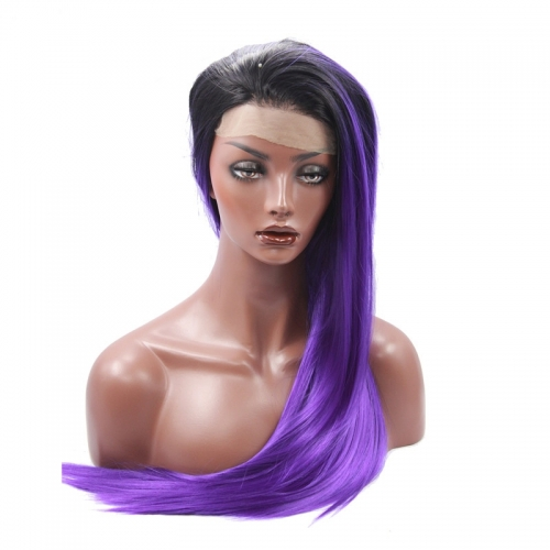 Black Root Ombre Pale Violet Lace Front Wig Free Part Synthetic Slik Long Narural Straight Lace Front Wig For Women