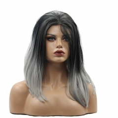Eseewigs Black Root Ombre Grey Lace Front Wig Free Part Synthetic Silk Short Straight Lace Front Wig For Women Heat Resistant Fiber Hair