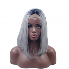 Eseewigs Black Root Ombre Sliver Gery  Lace Front Wig Free Part Synthetic Silk Short Straight Lace Front Wig For Women Heat Resistant Fiber Hair