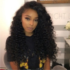 Top Grade Cheap High Temperture Synthetic Fiber Lace Front Wigs Deep Curly Hair Natural Black Color for Black Woman