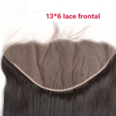 13X6 Human Hair Peruvian Virgin Hair Lace Frontal Closure Straight Natural Color Density 120% In Stock