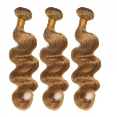 Color #27 Honey Brown Body Wave Brazilian Remy Hair Weave 3pcs Buddles