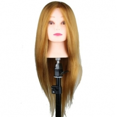 Cosmetology Mannequin Trainning Head 22inch Golden Blonde Color Human and Synthetic Hair with C Clamp Holder