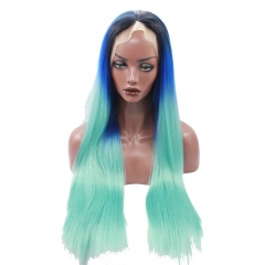 Eseewigs Black Root Ombre Blue&Green Mixed Lace Front Wig Free Part Synthetic Slik Long Natural Straight Lace Front Wig For Women Heat Res
