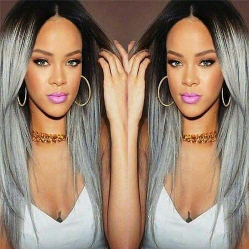 Eseewigs Silky Straight Synthetic Hair Wigs Brown Rooted Ombre Silver Gray Long Wigs for Sale