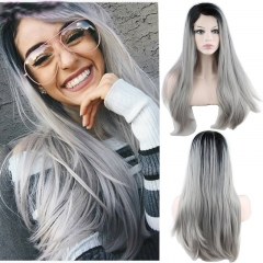Eseewigs Medium Grey Ombre Lace Front Wig Free Part Synthetic Silk Long Natural Straight Lace Front Wig For Women Heat Resistant Fiber Hair 16~24inch