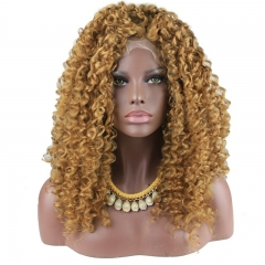 Fashion Short Synthetic Lace Front Wigs Kinky Curly Heat Resistant Hair For Women Golden Brown Color