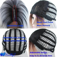 Two Tone Black and Grey Ombre Wig Heat Resistant Fiber Synthetic Wigs Long Straight Hair