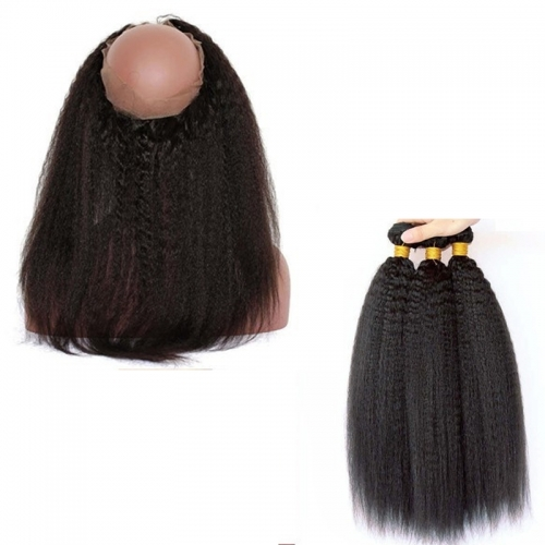 360 Frontal Closure With Two Bundles Brazilian Virgin Hair Kinky Straight 360 Lace Band Frontal