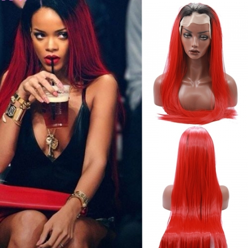 Black Root Ombre Red Lace Front Wig Free Part Synthetic Slik Long Narural Straight Lace Front Wig For Women