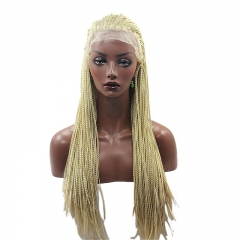 Eseewigs Blonde 613# Lace Front Braid Wig Free Part Synthetic Braids Lace Front Wig For Women Heat Resistant Fiber Hair 16~24inch