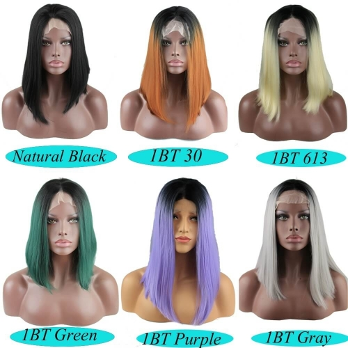 Heat Resistant Synthetic Short Straight Hair Black Ombre Lace Front Bob Wigs for Women Middle Parting 6 Color