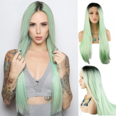 Eseewigs Synthetic Lace Front Wig Light Green Natural Straight Hair Wigs For Women Heat Resistant Fiber Hair Half Hand Tied 16~24 Inches