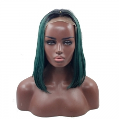 Eseewigs Black Root Ombre Dark Green Lace Front Wig Free Part Synthetic Silk Short Straight Lace Front Wig For Women Heat Resistant Fiber Hair 10~14in