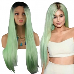 Cheap Long Straight Black Root Light Green Color Lace Front Synthetic Hair Wig for  Women Half Hand Tied
