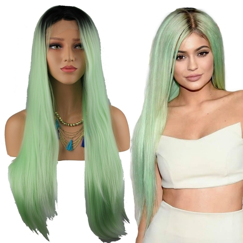 Long Straight Black Root Light Green Color Lace Front Synthetic Hair Wig for  Women Half Hand Tied