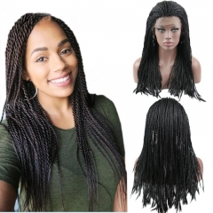 Eseewigs Natural Black Lace Front Braid Wig Free Part Synthetic Braids Lace Front Wig For Women Heat Resistant Fiber Hair 16~24inch