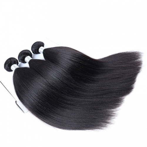 Peruvian Remy Human Hair Yaki Straight Hair Weave Natural Color 3 Bundles