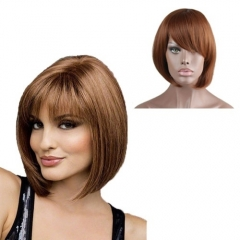 Short Brown Bob Wig with Bang Straight Synthetic Wig for Women