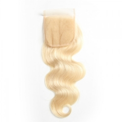 Blonde Lace Closure 613# Bleached Knots Free/Middle/3 Part Unprocessed Virgin Brazilian Remy Blonde Hair Stock 4x4 inch