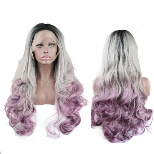 Synthetic Hair Wigs Lace Front Wigs 3T Color Wavy Hair Ombre Wig 26inch