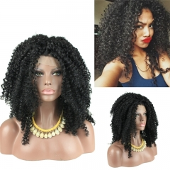 Fashion Cheap Synthetic Hair Afro Curly Lace Front Wigs for Black Woman Natural Color